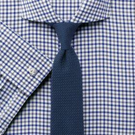 Мужская рубашка под запонки белая в серо-синюю клетку Charles Tyrwhitt не мнущаяся Non Iron сильно приталенная Extra Slim Fit (RG383BLU)