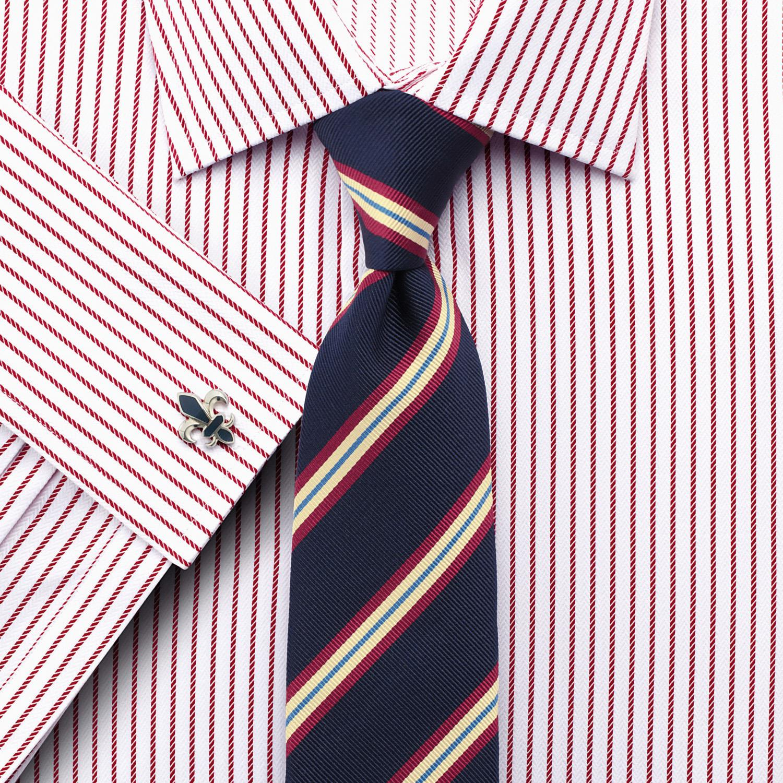 766a3ef8daa Мужская рубашка английская под запонки белая в красную полоску купить  Москва Charles Tyrwhitt приталенная Slim Fit