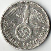5 рейхсмарок. 1936 год. A. Третий Рейх.  Серебро.