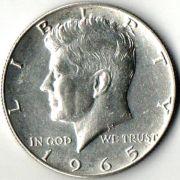 1/2 доллара. США. 1965 год. Серебро.