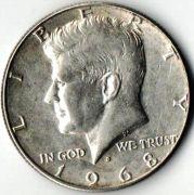 1/2 доллара. США. 1968 год.  Серебро.