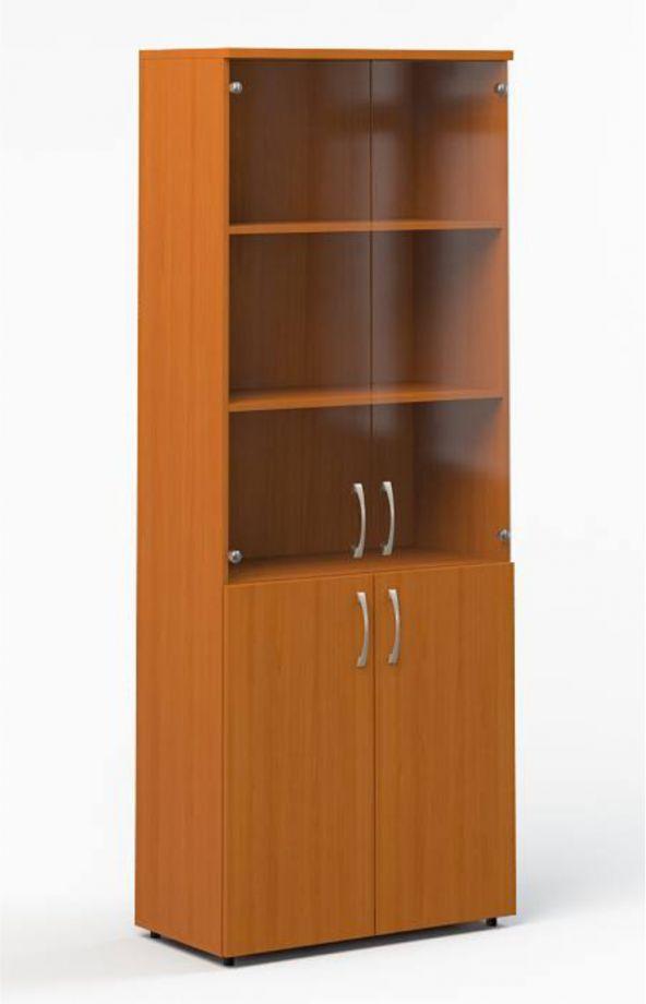 Шкаф-пенал со стеклом с полками