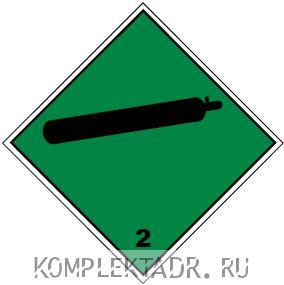 """Знак опасности """"Класс 2 Сжатый газ"""" (наклейка)"""