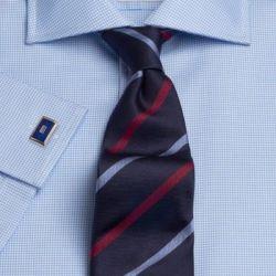 Рубашка мужская под запонки светло-синяя T.M.Lewin приталенная Slim Fit (41349)
