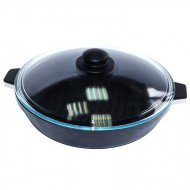 Сковорода-гриль чугунная Добрыня DO-3325 (28 см.) (код 40)
