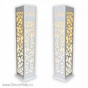 Свадебные ажурные колонны с подсветкой для выездной регистрации