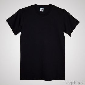 Мужская черная футболка без рисунка FRUIT OF THE LOOM