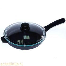 Сковорода-гриль чугунная Добрыня DO-3327 (28 см.) стекл. крышкой (код 28)