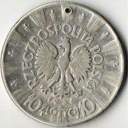 10 злотых. Польша. 1936 год. Серебро.