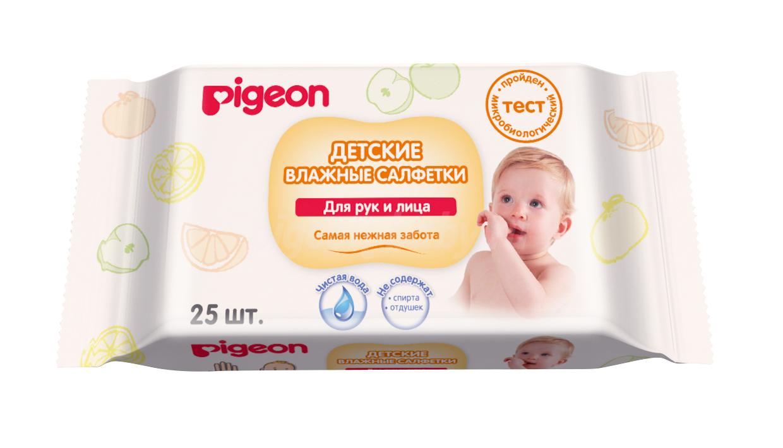 """Pigeon """"Руки и лицо"""" Детские влажные салфетки 100% натуральный состав, 25 шт"""