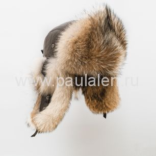 "Мужская шапка ушанка ""Бомбер"" из меха волка B024_M"