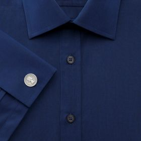 Мужская рубашка под запонки темно-синяя Charles Tyrwhitt приталенная Slim Fit (FF026DBL)