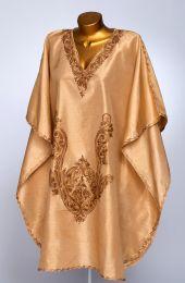 Золотисто-бежевое платье, натуральный шелк (Москва)