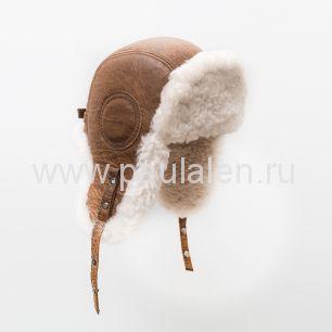 """Мужской шлем """"Авиатор"""" из натуральной кожи и овчины B005"""