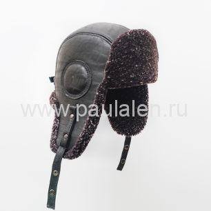 """Мужская шапка ушанка """"Авиатор"""" из кожи и меха овчины. B045"""