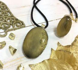 Подвеска Гамма золотая муранское стекло
