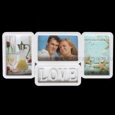 Фоторамка Love на 3 фото LH 1611 (Цвет: белый)