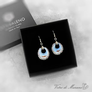 VB02-p Серьги с серебром цвет голубой муранское стекло
