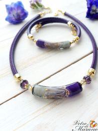 Колье  Alisa  фиолет   муранское стекло