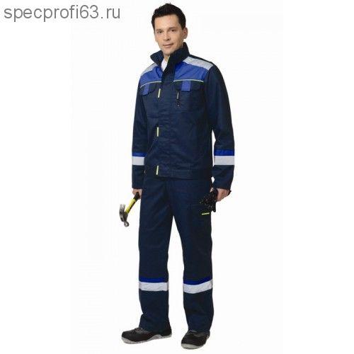 """Костюм """"БОСТОН"""" : куртка кор., полукомб. темно-синий с васильковой и черной отделкой"""