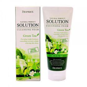 Deoproce Natural Perfect Solution Cleansing Foam Green Tea 170g - Пенка для умывания с экстрактом зеленого чая.