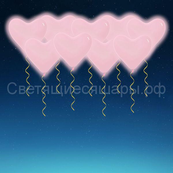 Сердце светящееся 30 см (розовое)