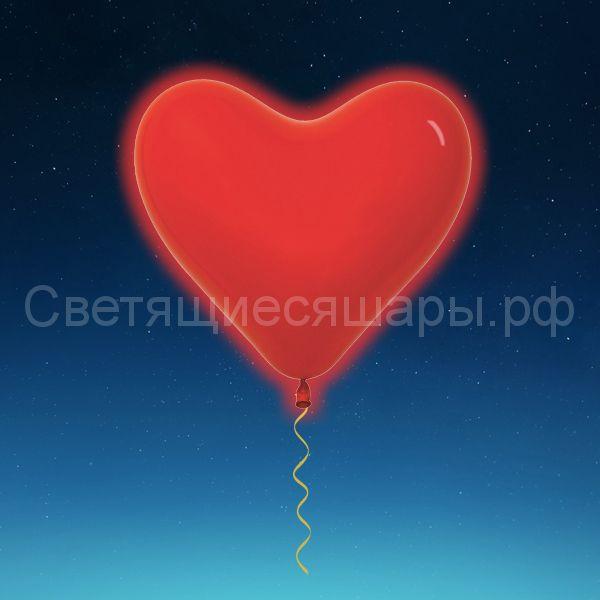 Сердце светящееся 60 см (красное)