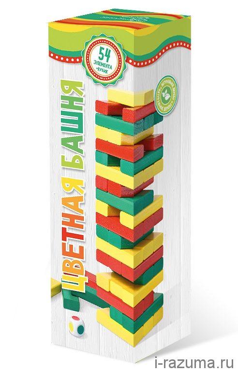 Башня с разноцветными брусочками (Дженга)