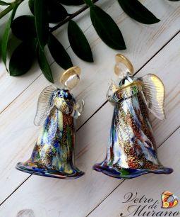 Фигурка Ангел  золотой с мурринами  муранское стекло