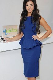 Элегантное синее платье с баской