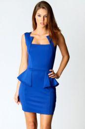 Платье с баской синего цвета.