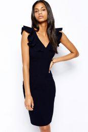 Облегающее темно-синее платье миди