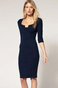 Платье миди темно-синего цвета
