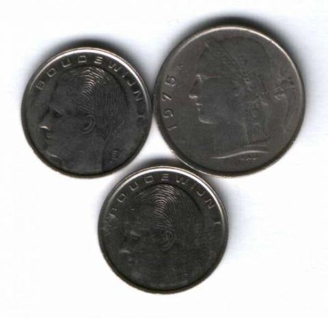 Набор монет Бельгия 1975-1990 г. 3 шт.