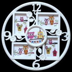 """Мультирамка """"Часы"""" 163-1 (цвет: белый)"""
