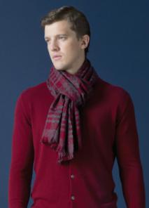 кашемировый широкий рельефный шарф (100% драгоценный кашемир), Textural Heritage Red ( Текстчерэл Херитидж  Рэд), плотность 5