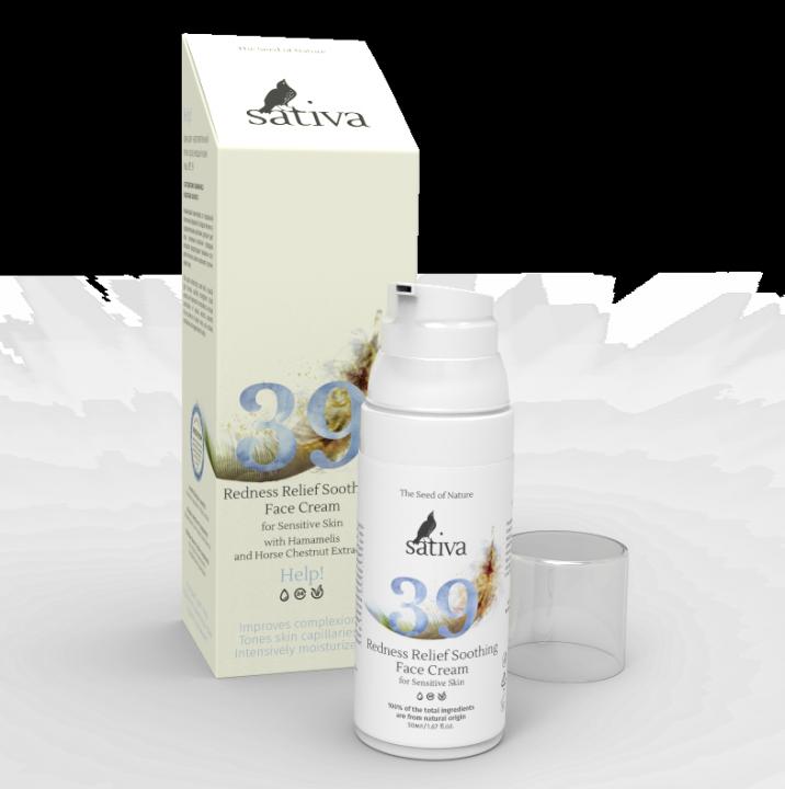 Крем для чувствительной легко краснеющей кожи лица Sativa № 39, 50мл