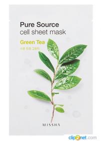 MISSHA Pure Source Cell Sheet Mask (Green Tea) 21g - Увлажняющая маска для лица