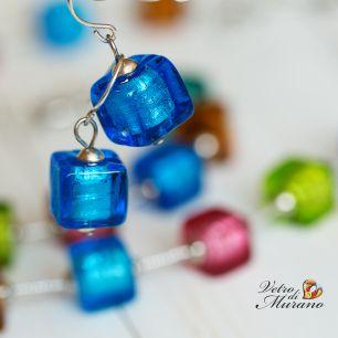 Cерьги из бусин-кубиков (холодный и теплый тон) муранское стекло