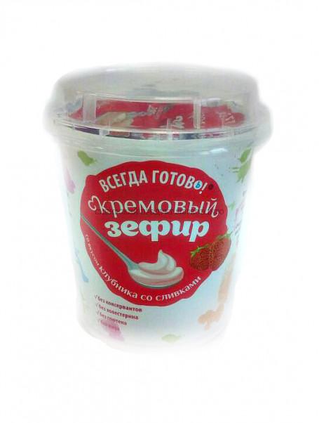 """Кремовый зефир """"Всегда Готовъ"""" Клубника со сливками 200 гр"""