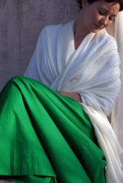 Белый палантин из кашмирской пашмины (100% кашемира), под заказ