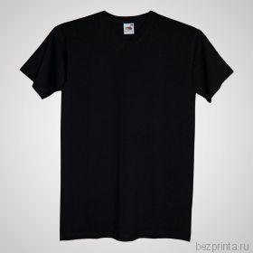 Мужская черная футболка без рисунка FRUIT OF THE LOOM с V-образным вырезом