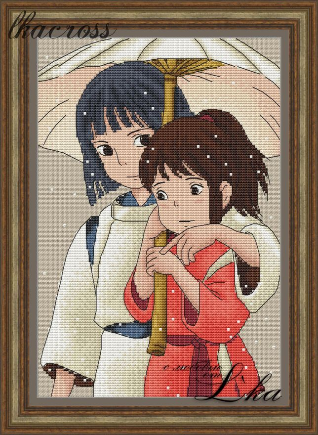 """Spirited away - 2"". Digital cross stitch pattern."