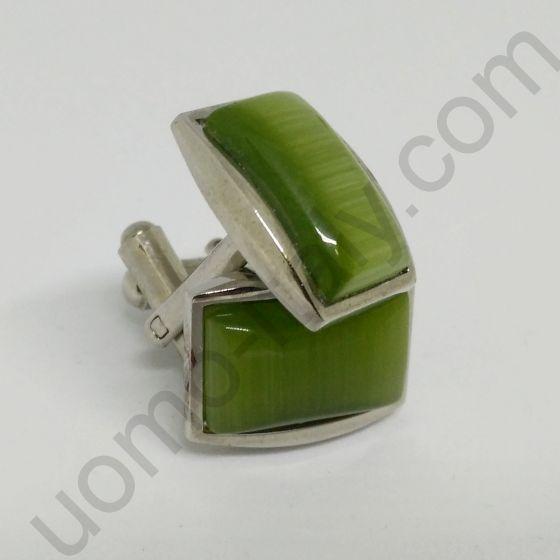 Запонки зелёная глазурь в металле