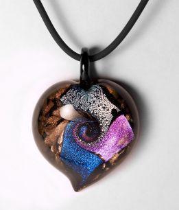 Подвеска сердце  с узором декроико муранское стекло