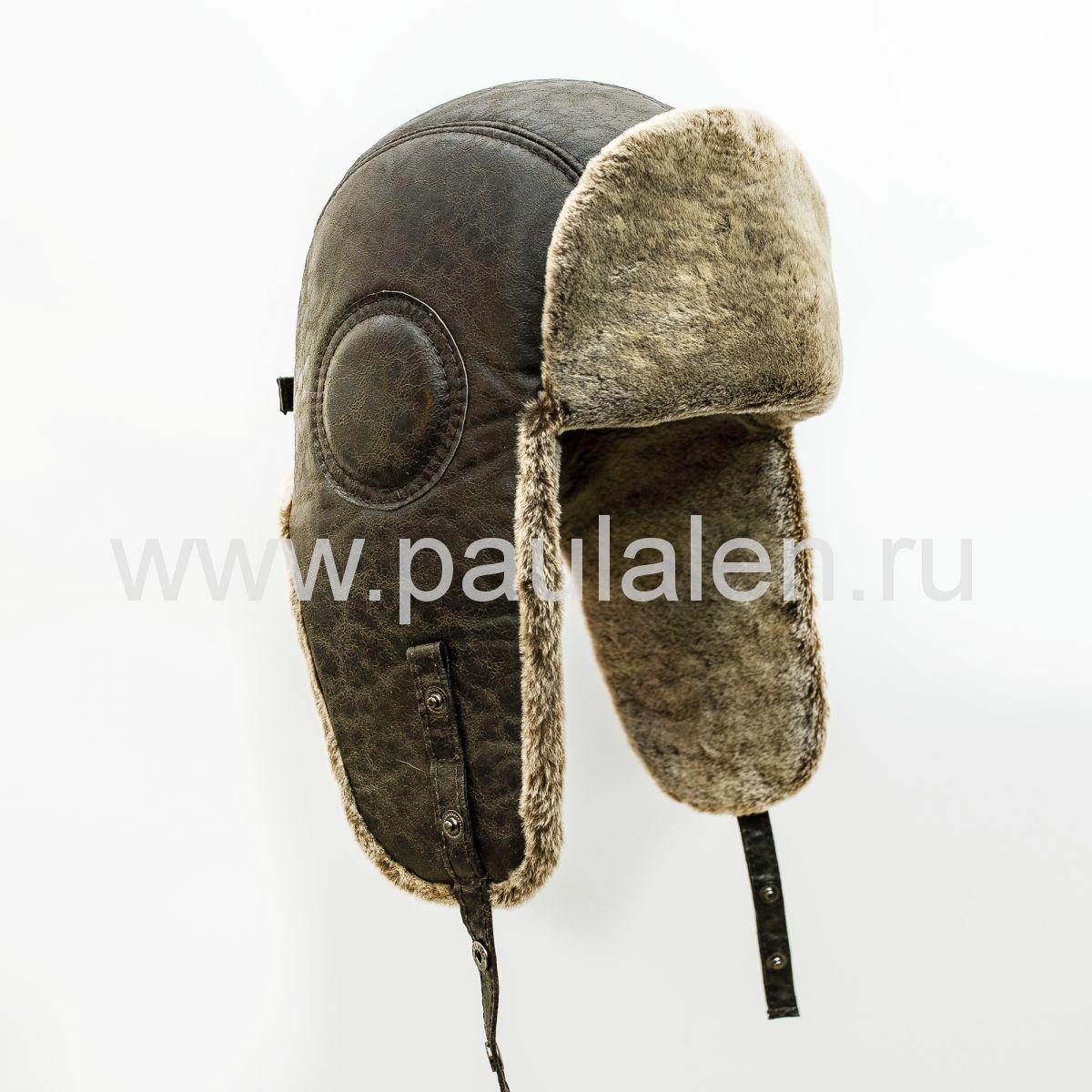 Шлем Авиатор мужской, из натуральной кожи и овчины B036