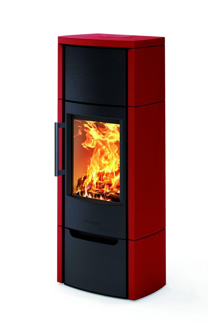 Отопительная печь WIKING Miro 6 в облицовке из керамики (Цвет Красный)