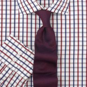 Мужская рубашка белая в красно-синюю клетку T.M.Lewin приталенная Slim Fit (46292)