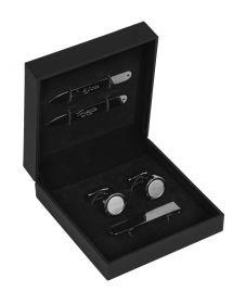 Подарочный набор для мужчин | запонки+застежка для галстука+вставки в воротник