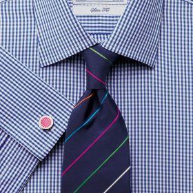 Мужская рубашка под запонки белая в синюю клетку Charles Tyrwhitt приталенная Slim Fit (FC090RYL)